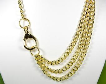 Multistrand Necklace, Golden Choker, Statement Necklace, Three Chain Necklace, Gladiator Necklace, Gift for Her, Gift Idea, Girlfriend Gift