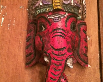 "Large Hand-Carved Hand-Painted Wooden Wall Hanging Ganesh (14.5""X7"")"