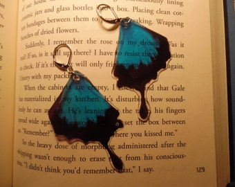 Blue Butterfly Bottom Wing Earrings (Faux High Quality/Suncatcher Quality)