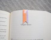 Ombre orange gray magnetic banner bookmark, planner bookmark, book clip, page marker, paper clip, washi bookmark, small bookmark