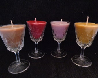 scented candles in sherry glasses