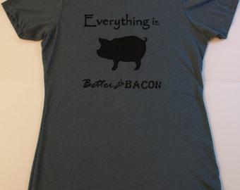 Everything is Better with Bacon Women's indigo medium screenprint t-shirt
