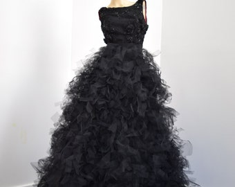 Black feathered tulle netting gown with  low back