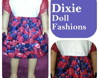 """Dixie-crafted Very Berry Dress designed to fit 18"""" Dolls including those from the American Girl Company"""