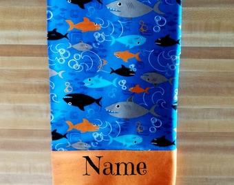 Shark Pillowcase, Boys Pillowcase, Aquarium Pillowcase Embroidered, Monogrammed, Personalized, Sharks, Ocean Fish, Ocean Inspired