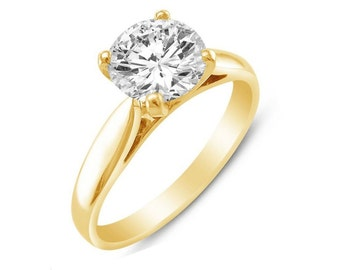 1.00 Ct Round Cut Solitaire Engagement Wedding Ring Solid 14K Yellow Gold