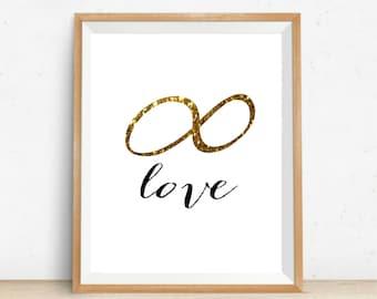 Endless Love Art Printable Gold Infinity Love Print 8x10 Instant Download Printable Art Typography Infinity Love Art Love Art Valentines