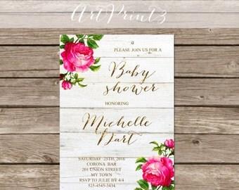 Girl Baby Shower Invitation Printable, Roses Baby Shower Invitation, Rustic Baby Shower Invitation Printable,Gold Baby Shower Invitation