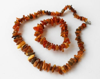 Set of Baltic Amber Necklace and Bracelet Honey Beaded
