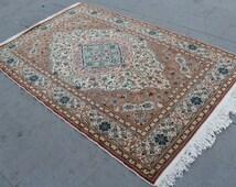 "Vintage Turkish Rug Carpet, Handmade Decorative Wool  Turkish Rug Carpet, Anatolian Home Decor Area Wool Rug Carpet, 230x144cm, 92""x58"""