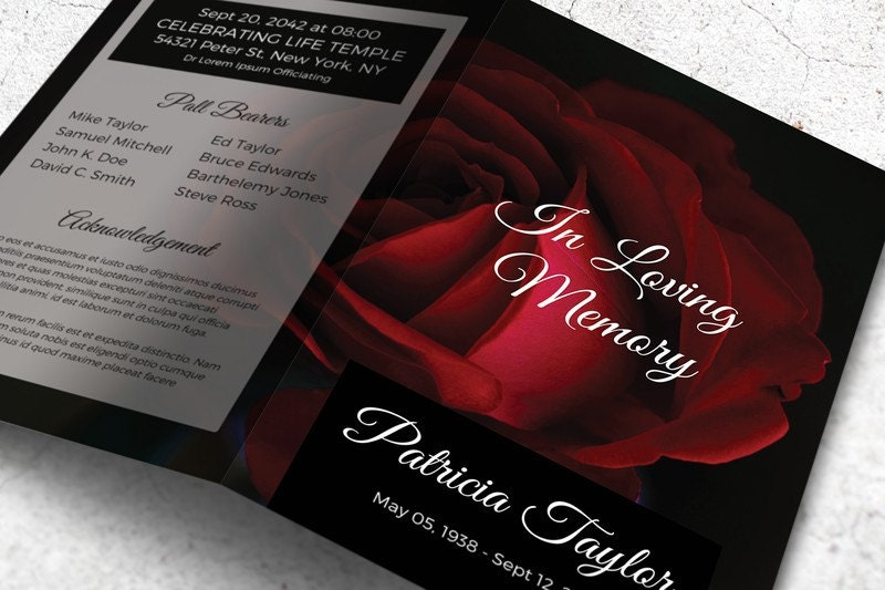 red rose funeral program memorial card template editable with