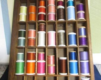 VINTAGE old typography 35 compartments wooden drawer / VINTAGE Wall Shelf Display Hanging VTG Wooden Printer's Drawer Letterpress