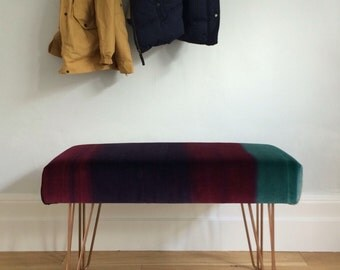 Upholstered bench/ Ottoman with metal hairpin legs