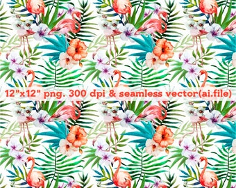 Hand painted tropical flowers Clipart, Digital Download ,Quotes Scrapbooking, Supplies, esp format file