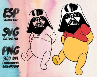 Pooh vader  Star wars Clipart , SVG Cutting , ESP Vectors files , T shirt , iron on , sticker ,Personal Use
