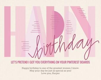 Custom birthday card, Printable birthday card, digital card, Pink bday template, 4x6 or 5x7 printable card