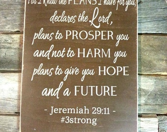 For I Know the Plans, Wall Decor, Wooden Sign, Inspirational, Spiritual, Motivational, Bible Verse, Jeremiah 29:11, 12x16x1