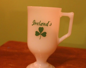 Milk Glass Pedestal Mug with handle-Ireland's with green shamrock clover.