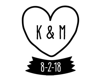 Hand Drawn Heart and Initials Wedding Temporary Tattoo - Personalized Wedding Favor or Tag