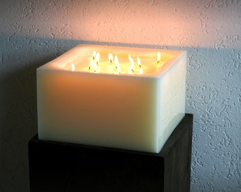 Candles, multi Wick candle, Multiwick candle, big, cubes, creme, square, 30 x 30 x 14 cm, 13 Wicks