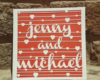 Valentines / Wedding / Anniversary Personalised Papercut Card