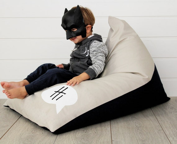 Personalised Kids Bean Bag Monochrome, boys bean bag, boys chair, childs bean bag, kids furniture, kids cushion, personalized bean bag