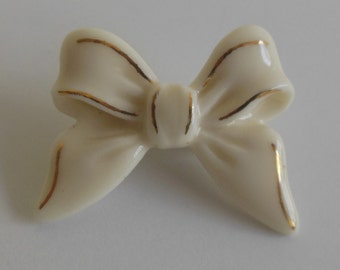 Lenox Ceramic Cream and Gold Bow Pin from the 1950s with Original Box