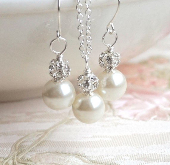 Set Of 4 Ivory Bridesmaid Jewelry Sets Ivory Swarovski Pearl