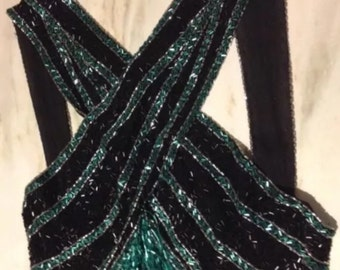 Mesmerizing Vintage Bob Mackie Couture for Lillie Rubin Beaded Formal Dress Size 8
