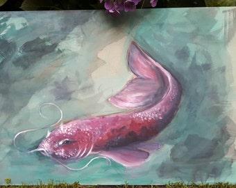 Koi fish, original oil painting, animal, ocean, pink, purple, green, koi fish original oil paintings