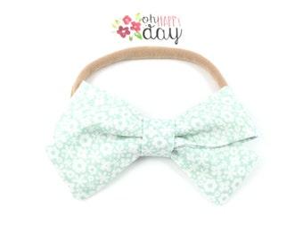 Fabric hair bow   Flower hair bow   Hair bow   Girls hair bow   Bow headband   Floral headband   Fabric Bow