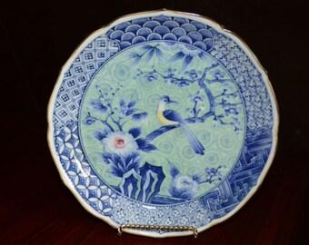 "Andrea By Sadek Large Porcelain Blue and White Floral & Bird Bowl 8.5"" Diameter"