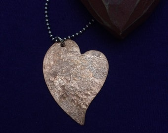 Copper Rustic Textured  Heart Pendant Handcrafted by the Gifted Goose