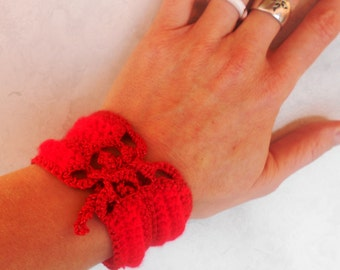 Romantic red,Soft Bracelet, boho chic cuff, crocheted bracelet, bracelet, handmade bracelet, cuff bracelet, bangle bracelet