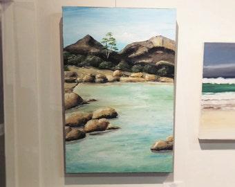 Coles Bay Freycinet seascape original oil painting by Tasmanian artist Mel Andrewartha