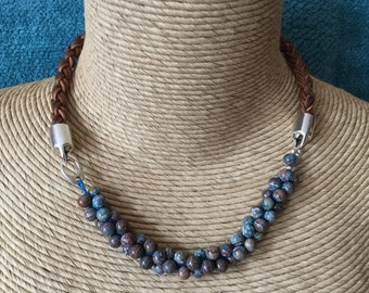Braided, brown, leather, Calsilica, cricheted, beaded necklace