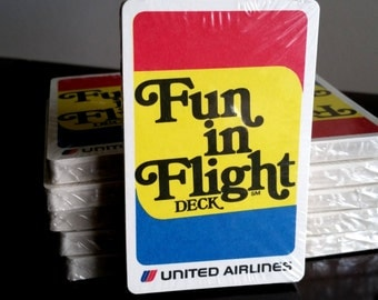 Collectible United Airlines Fun In Flight Deck SEALED / UAL Game Cards for Kids/ Playing Cards 1970s