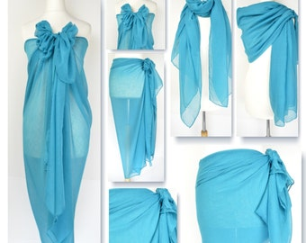 Teal Blue Plain Sarong, Pareo, Beach Cover Up, Resort Wear, Pool Wrap, Holiday Wear, Vacation, Beach Dress, Ladies Sarong,Beach Wrap,Swim