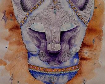"Watercolor ""Gypsy Cat"" Original  Print"