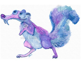 Squirrel childrens Watercolor Painting digital download ice age