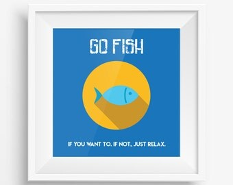 GO FISH. Design Art Print.