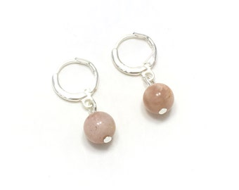 925 sterling silver plated sunstone earrings, creoles