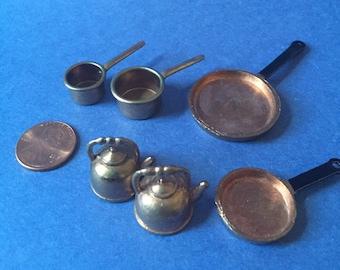 Vintage 1970s brass dollhouse pots and pans
