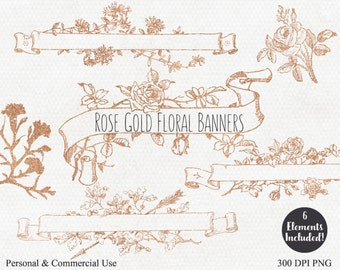 ROSE GOLD BANNER Clipart Commercial Use Clip Art with Rose Gold Floral Ribbon Banners & Roses, Floral Wedding Graphics Gold Flower Clip Art