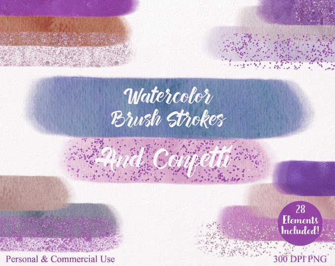WATERCOLOR BRUSH STROKES Clipart Commercial Use Clipart 28 Watercolor Paint Headers With Confetti Clip Art Watercolor Textures Logo Clip Art