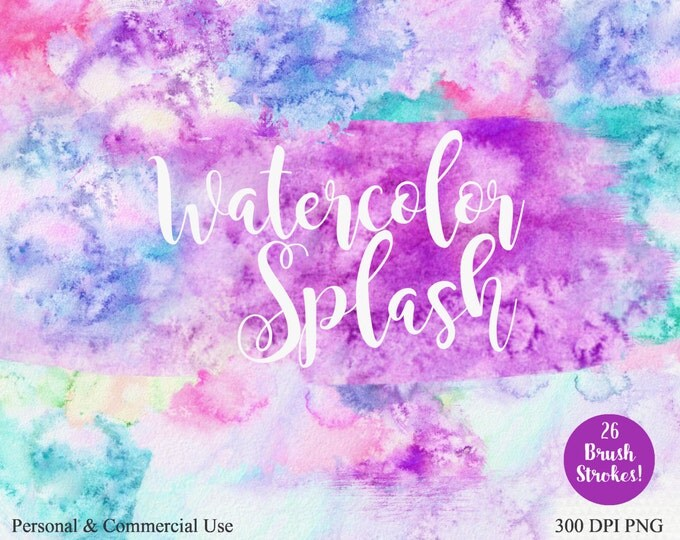 WATERCOLOR PAINT STROKES Clipart Commercial Use Clip art Pink Purple Aqua Blue Hand-Painted Watercolor Texture Splashes Paint Brush Strokes