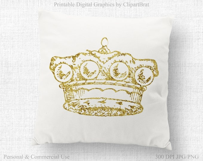 GOLD CROWN Clipart Commercial Use Clipart Antique CROWN Clipart Ornate Gold Foil Crown Fabric Transfer Image Clipart Crown Graphic Jpg/Png