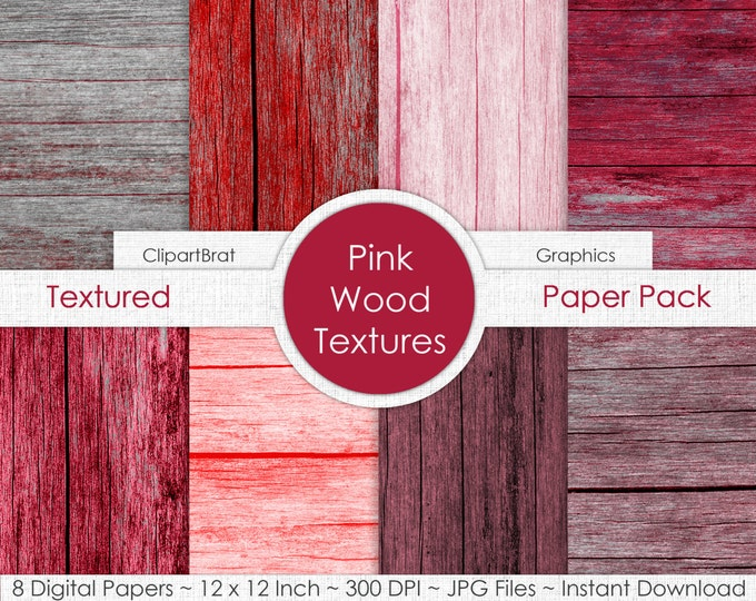 PINK & RED WOOD Digital Paper Pack Commercial Use Digital Backgrounds Red Barn Wood Grain Digital Paper Distressed Wood Textures Paper Pack