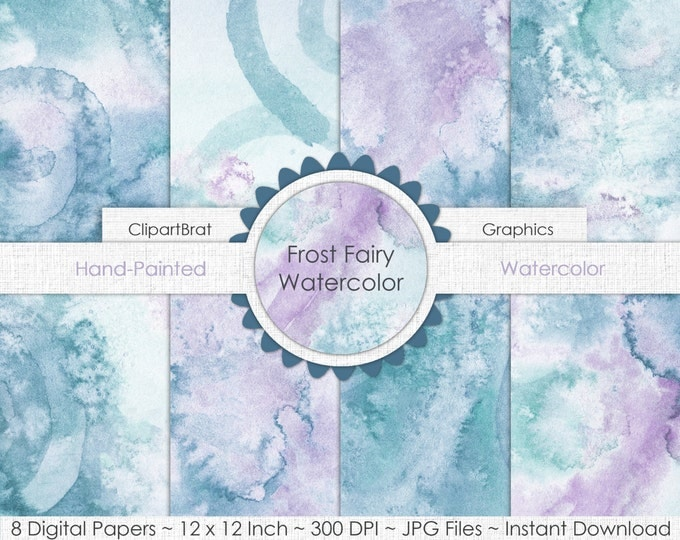 TEAL WATERCOLOR Digital Paper Commercial Use Background Paper Frost Fairy Lavender Ice Frozen Hand-Painted Real Watercolor Digital Papers