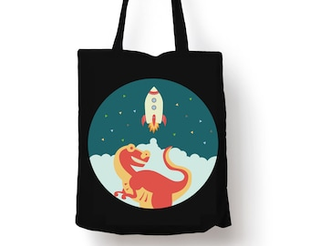 Dinosaur & Rocket in Space black tote bag, reusable shopping bag, cotton grocery accessory, tote bag, shopper FREE UK DELIVERY :)